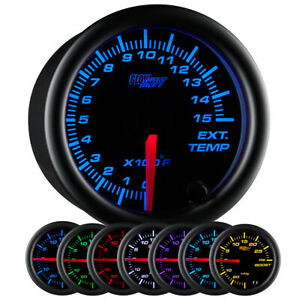 Slightly Used Glowshift Black 7 Color 1500 F Exhaust Gas Temperature Egt Gauge
