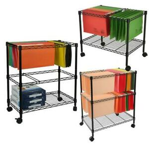 Sturdy 1 2 tier Metal Rolling File Cart For Letter Size And Legal Size Folder