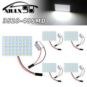 5x Ultra White 48 Smd Ba15s 1156 Led Panel Dome Map Interior Light Bulb Lamps Us