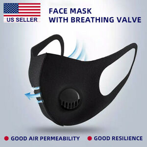 10 Pcs Face Mask Washable Reuse With Air Filter Breath Valve Poly Sponge