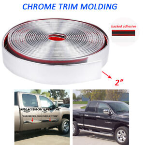 Chrome Trim Molding 2 Door Side Tailgate Threshold Bumper Decorate Strip 7feet
