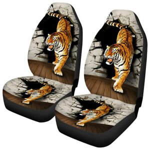 2x Truck Suv Car Seat Covers Front Cushion Tiger Printed Universal Protector Set
