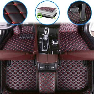 Car Custom Floor Mats For Ford Mustang 2015 2019 Leather Full Coverage Black Red