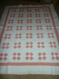 Antique Vintage Pink And White Quilt 70 X 88 Hand Quilted