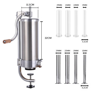 4l Manual Meat Sausage Filler Stuffer Salami Commercial Machine Stainless Steel