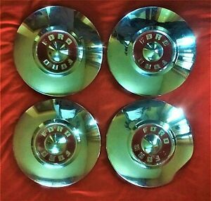 1955 1956 57 58 59 Ford Hubcaps Fairlane Thunderbird Red Center Ford