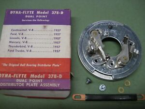 New Distributor Dual Points Breaker Plate Assembly 1957 1958 Ford Mercury V 8