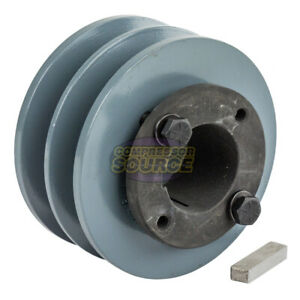 Cast Iron 3 75 2 Groove Dual Belt B Section 5l Pulley And 1 3 8 Sheave Bushing