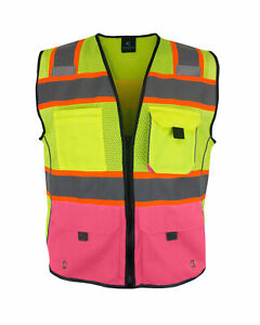 Women s Reflective Safety Vest With Pockets Yellow pink