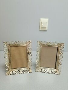 2 Vintage Filigree White Washed Gold Metal 9 X 7 Picture Photo Frames Wall Desk