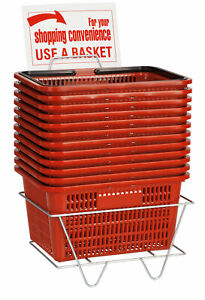 Red Shopping Baskets With Stand Set Of 12