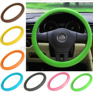 Silicone Car Steering Wheel Cover Green Size 14 16 Pu Auto Car Universal Fit