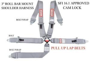 Sfi 16 1 Racing Harness 5 Point Roll Bar Mount 3 Cam Lock Gray Pull Up Laps