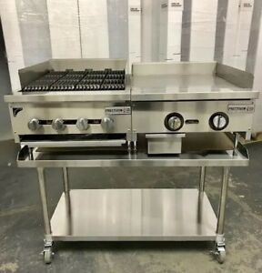 24 Char Broiler 2 Grill Flat Griddle Package New Heavy Duty Thermostat Control