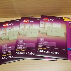 Avery 18661 Easy Peel Address Labels For Inkjet 1 X 4 Clear 200 Labels 3 Sets