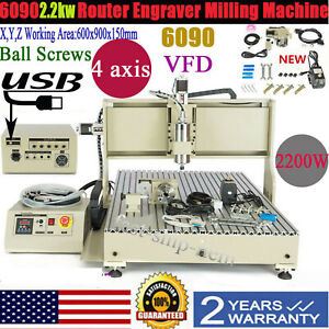 Usb 4 Axis 6090 Cnc Router Engraver Machine Carving drilling milling Woodworking