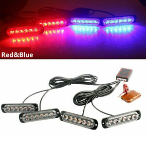 4in1 24led Car Police Strobe Flash Light Dash Emergency Warning Lamp Red Blue