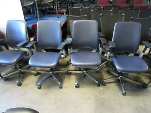 Amia Chairs In Navy Blue Leather And Chrome