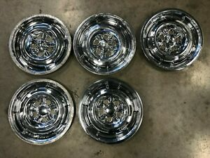 1964 1965 1966 1967 Mercury Comet Cyclone Gt 14 Chrome Styled Wheel Hubcaps Set