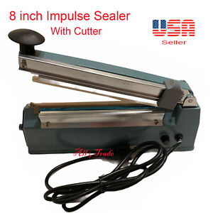 8 200mm Impulse Seal Machine Wrap With Cutter Heat Poly Bag Hand Sealer