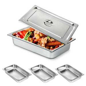 4 Packs 4 Inch Steam Table Pans Stainless Catering Food Warmer Buffet W Lids