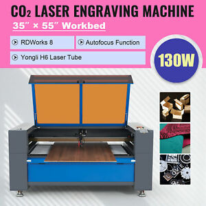 130w Laser Cutting Machine With 55x35 Motorized Bed Water Chiller Air Assist