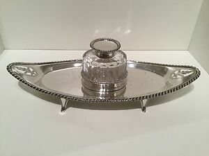 Nice Solid Sterling Silver Inkwell Desk Stand London 1896 Thomas Bradbury