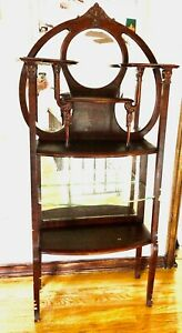 Antique Wooden Etagere With Mirrored Back Art Nouveau Styling 1980 1910