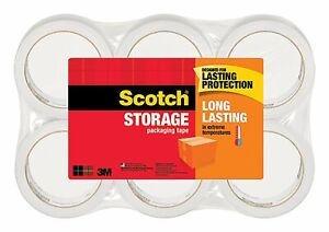 Scotch 3m Storage Packing Tape 6 Rolls Long Lasting Shipping Packaging Moving