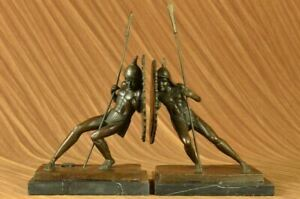 Vintage Cast Iron Japanese Soldiers Bookends 100 Real Bronze Sculptural Classic