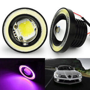 3 5 Round Cob Led Fog Light Projector Lamp Pink Angel Eyes Drl Bulbs Halo Ring