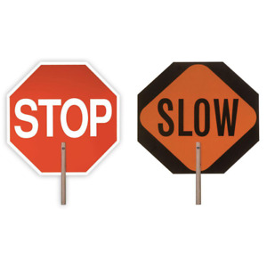 Stop Slow Reflective Signage Outdoor Traffic Barricades 2 sided Paddle 18 In
