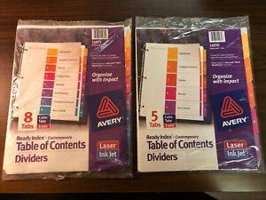 Lot 2 Avery Ready Index Table Of Contents Plastic Dividers 8 5 Tab 11071 11070