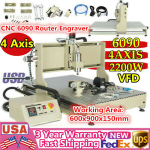 Usb 4 Axis Cnc 6090 Router Engraver 2 2kw Vfd Metal Woodworking Milling Carving