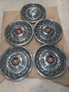 Lot Of 5 Cadillac 15 Hubcap Wheel Cover Wire Spoke Wheel 80 S