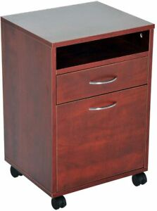 24 Rolling End Table Mobile Printer Cart Nightstand Organizer Brown New