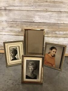 Lot Of 4 Vintage Gold Brass Tone Metal Photo Picture Frames Art Deco
