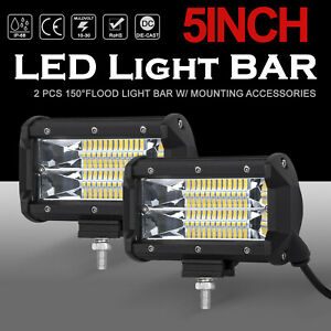 Pair 5inch 1680w Led Work Light Bars Flood Pods Driving Offroad For Jeep Tractor