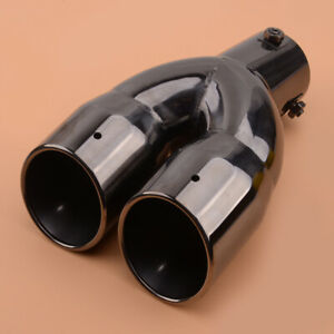 Titanium Black 63mm Inlet Dual Rear Muffler Exhaust Tip Tail Pipe Outlet
