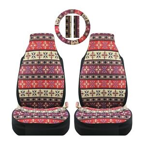 Eaglet Red Maya Universal Front Seat Steering Wheel And Seat Belt Covers