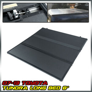 For 2007 2013 Toyota Tundra 8 Ft Hard Tri fold Tonneau Truck Bed Cover Black