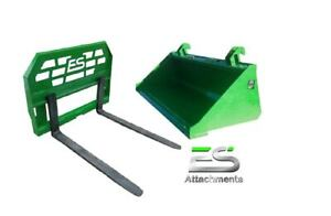John Deere Jd 60 Smooth Bucket And 48 Pallet Forks Combo Local Pickup