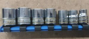 Lot Of 6 Snap On 3 8 Drive Metric Sockets 9mm 11mm 15mm 16mm 17mm 18mm Ex Con