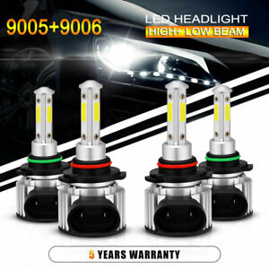 4x 9005 9006 Led Combo Headlight Kit 240w High Low Beam Light Bulbs 6000k White