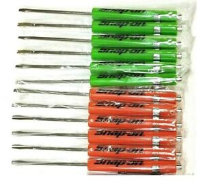 New 12 Mixed Snap On Tools Flat Tip Pocket Screwdrivers W Clip Magnetic End