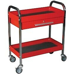 K Tool Utility Service Red Tool Cart W Locking Drawer And 2 shelves