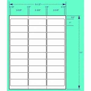 3000 Address Mailing Labels Self Adhesive Compatible Fba Word 1 X 2 5 8 3 000