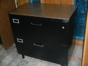 2 drawer Lateral File Cabinet All Steel Black With Wood Grain Top Lockable
