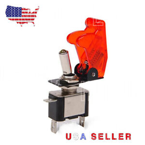Heavy Duty 20 Amp Toggle Switch Spst On Off Red Led And Safety Flip Aircraft
