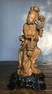 Antique 19th Century Chinese Fine Carved Boxwood Quan Yin Kwan Yin Statue